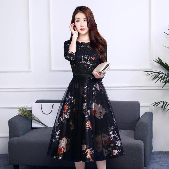 洋裝 禮服女時尚中長款聚會連身裙韓版顯會晚禮服