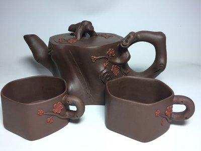 紫砂壺~梅樁樹樁壺套組/紫砂
