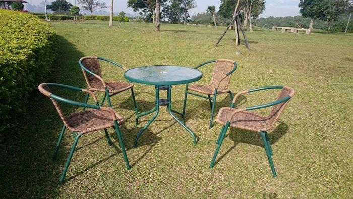 [兄弟牌庭園休閒傢俱]一桌四椅組~80cm綠色庭院圓桌+4 張PE藤椅(綠色/黑色可選)組,餐椅休閒椅直購免運費 !