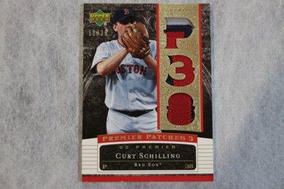 傳奇球星~Curt Schilling 2007 UD Premier 限量38張~金版~三格厚Patch~紅襪隊~