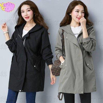 韓國MM=  【雙層帶里】大碼風衣女中長款春新款韓版媽媽裝寬松純色外套 =針織外套/薄外套/牛仔外套/棒球外套/夾克