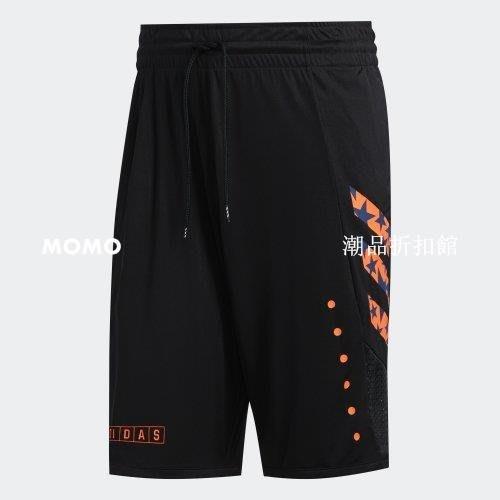 免運-ADIDAS GU P BOUNCE 籃球褲 運動 透氣 排汗 有口袋 愛迪達球褲 黑橘 男款 GE1078