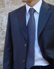 歐碼52【D URBAN】 Super150's 羊毛單排三釦年輕優質感海軍藍細白條紋色成套西裝
