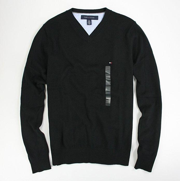美國百分百【全新真品】Tommy Hilfiger 針織衫 TH 線衫 V領 純棉毛衣 男衣 黑色 上衣 保暖 B606