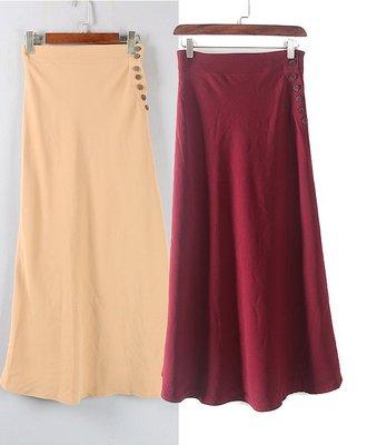 【WildLady】 日本超美顯瘦修飾側排扣A字高腰長裙COCO DEAL RENA旗下