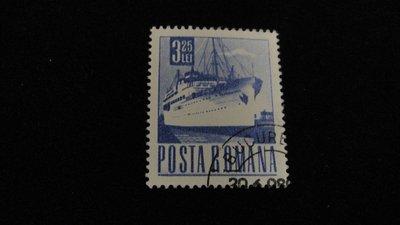 【大三元】歐洲郵票-羅馬尼亞發行-船-銷戳票1枚-原膠