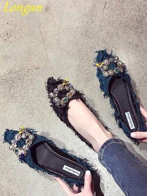 【Longan】晚晚鞋2019春季新款平底仙女韓版水鉆尖頭百搭淺口軟底豆豆單鞋女