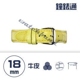 【鐘錶通】C1.04KW《繽紛系列》鱷魚壓紋-18mm 鵝黃┝手錶錶帶/高質感/牛皮錶帶┥