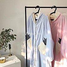 Empress丶ins風行走的被子星星睡袍女加厚珊瑚絨睡衣甜美可愛開衫加長睡袍