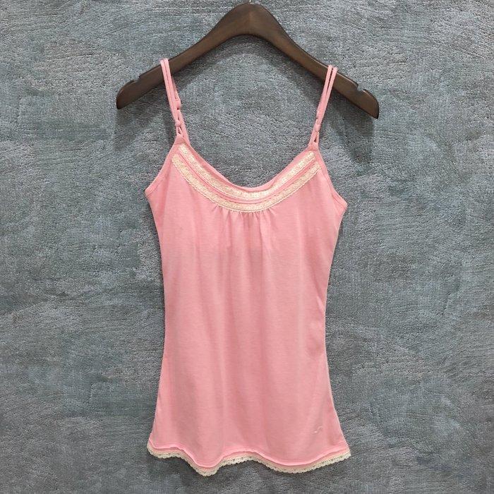 Maple麋鹿小舖 Hollister Co * HCO  粉色細肩帶蕾絲上衣 * ( 現貨M號 )