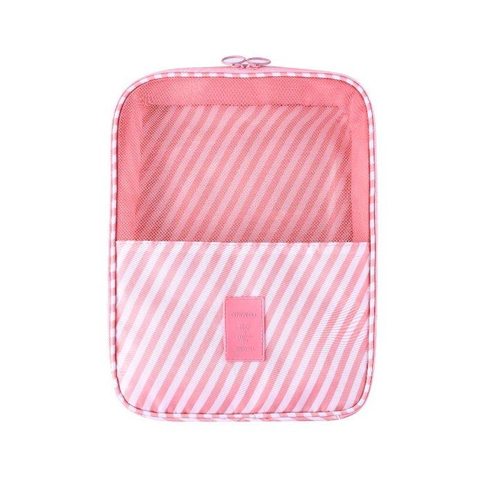 【杰元生活館】粉色條紋 DINIWELL新款斜紋防水加大可掛行李箱旅行用衣物鞋子袋收納用雙層三位鞋包