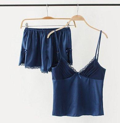 【Mi Ni】外單 歐美西班牙風 吊帶短褲兩件套睡衣女性感V領蕾絲花邊家居服~SC303506