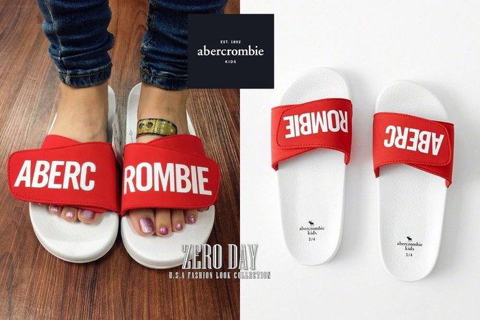a&f美國真品abercrombie&fitch boy slide sandals flip flops厚底防水拖鞋紅