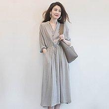 Maisobo 韓 春夏 氣質女神條紋舒適襯衫式長袖洋裝 LO-1 預購
