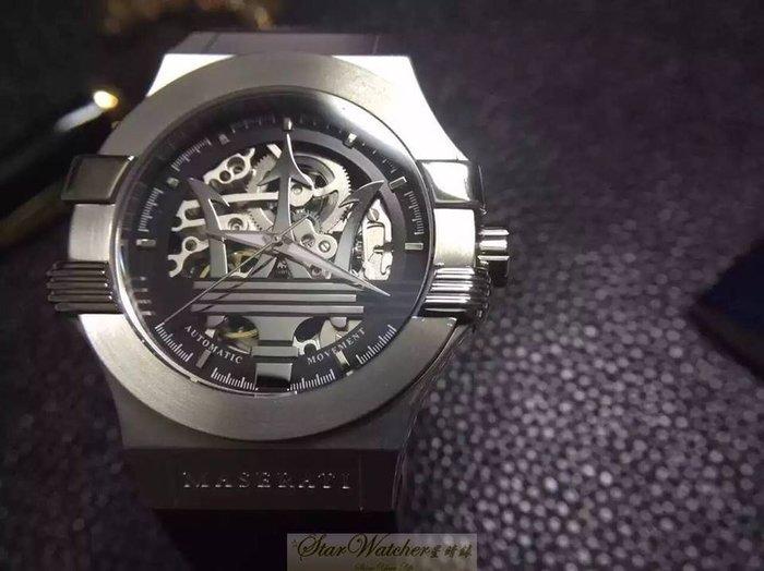 請支持正貨,瑪莎拉蒂手錶MASERATI手錶POTENZA款,編號:MA00002,黑色錶面黑色皮革錶帶款