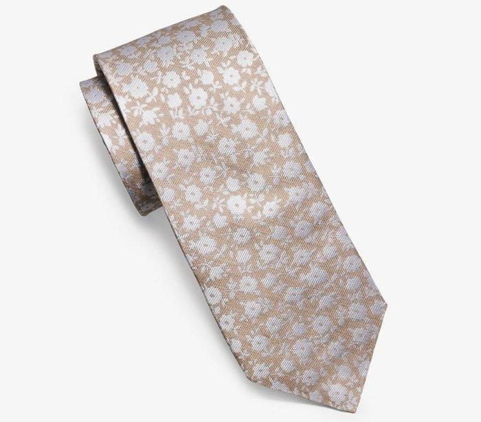 全新美國精品名牌 Michael  Kors MK 美國製米色小花高質感領帶,只有一件,低價起標無底價!本商品免運費!