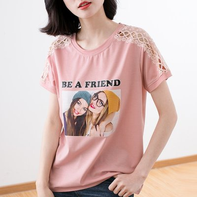 =EF依芙=【新款+免運】正韓T恤 蕾絲短袖T恤 名韓妮8642