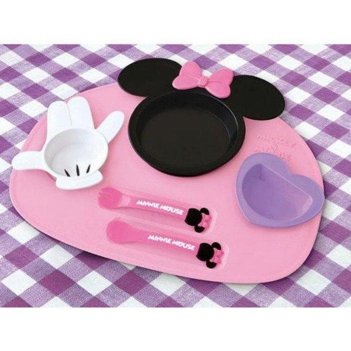 ^燕子部屋 ^ 日本製迪士尼 【米妮 MINNIE 】塑膠餐盤餐具組