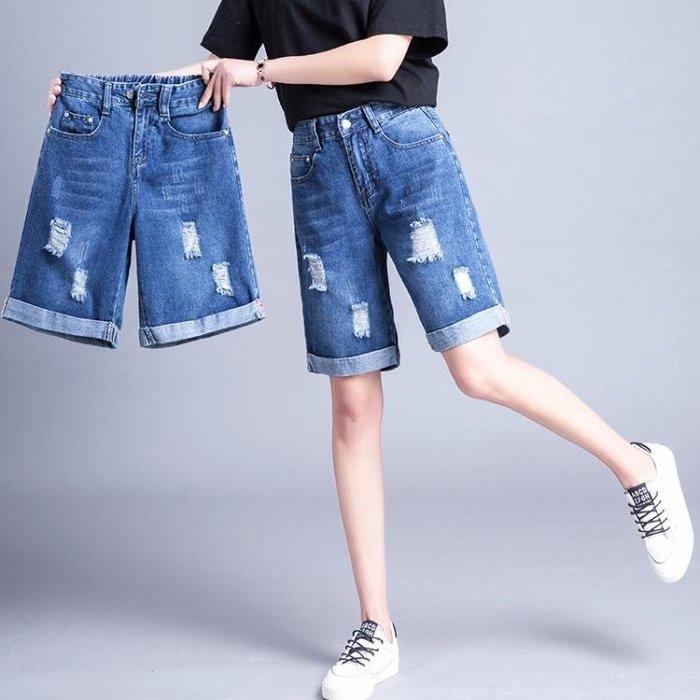 999牛仔短褲女夏韓版大碼胖松緊腰新款寬松高腰闊腿五分熱褲11BN20