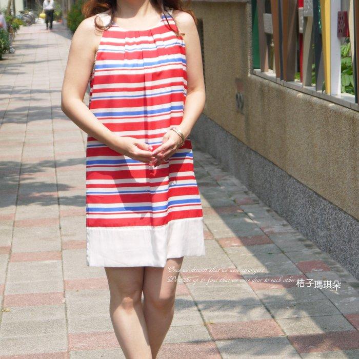 正韓 韓國連線 條紋無袖洋 細肩帶洋(紅色、靛藍)~桔子瑪琪朵
