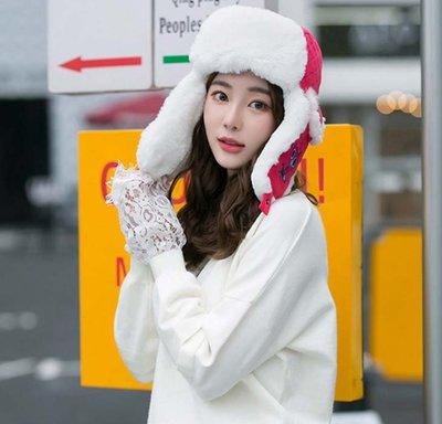 【小p包鋪】帽子 韓版潮冬天加絨貓頭鷹刺繡雷鋒帽 加厚護耳騎車保暖帽