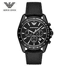 大錶盤Armani亞曼瑪尼三眼日曆期時尚潮流 黑色碼錶計時 男錶AR6131