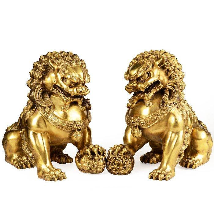 優品佛系☼純銅獅子擺件北京獅大門口家居客廳風水一對鎮宅擺設裝飾
