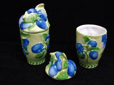 *·.德國頂尖名瓷.·VILLEROY & BOCH  GERMANY 一級品【手繪浮雕 蓋杯 二個一對 】z73玩古