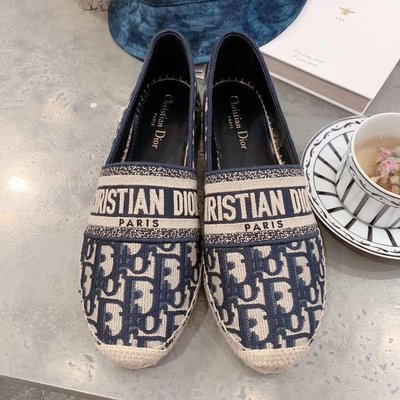 迪奧 老花刺繡漁夫鞋