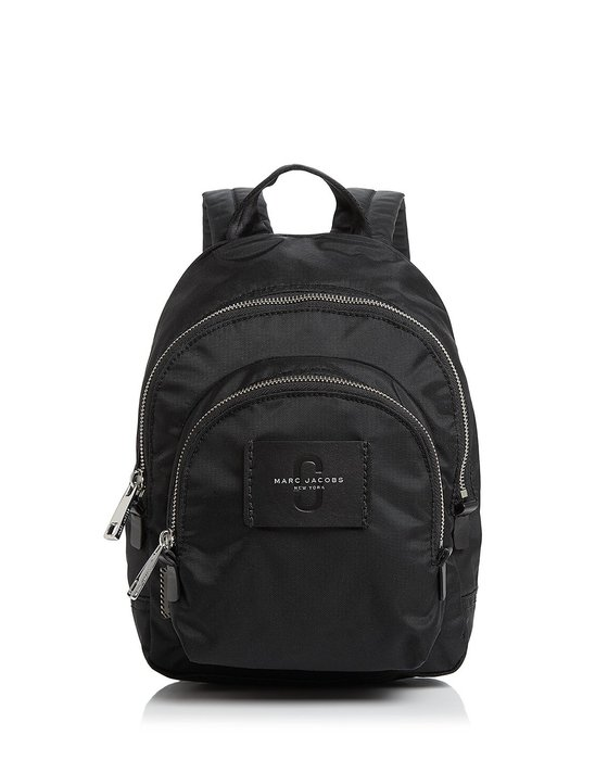 Coco 小舖 MARC JACOBS Double Pack Mini Nylon Backpack黑色迷你尼龍後背包