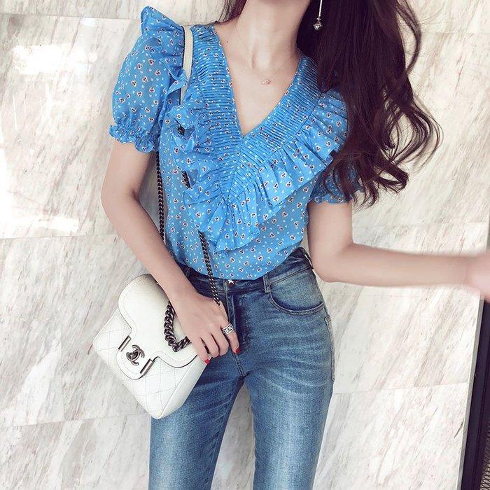 《巴黎拜金女》小清新上衣藍色櫻桃V領短袖顯瘦泡泡袖娃娃襯衫