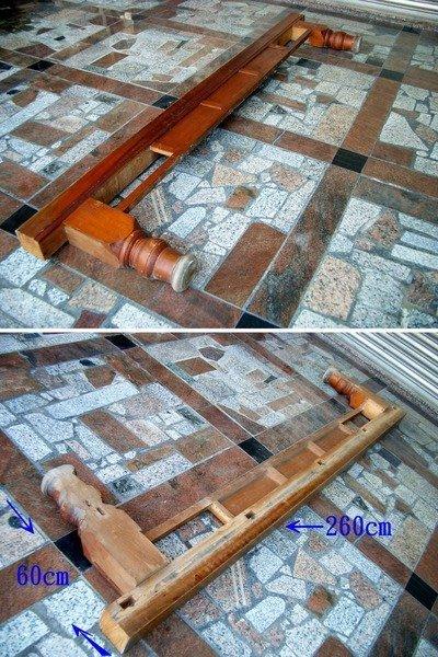 ~@美美小舖@~台灣檜木古董家具大眠床前床柱  原漆原件