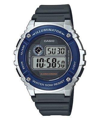 深水埗門市全新有保養正貨 新款 膠錶 電子錶 日期 星期 alram 50m 防水 CASIO W-216H-2A  watch