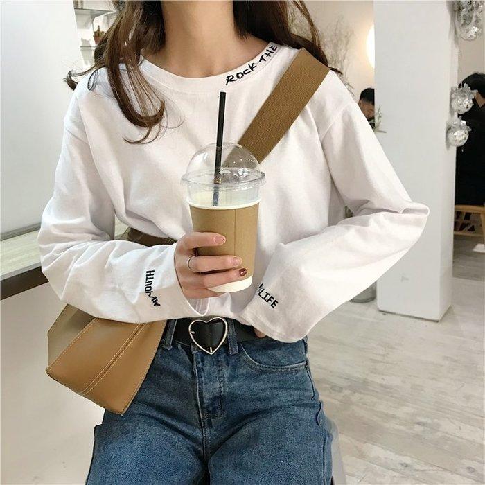 t恤女2019春季新款長袖上衣服韓版寬鬆顯瘦圓領字母刺繡怪味少女