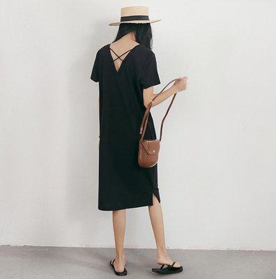 SeyeS  百搭歐美復古基本款法式優雅交叉美背洋裝