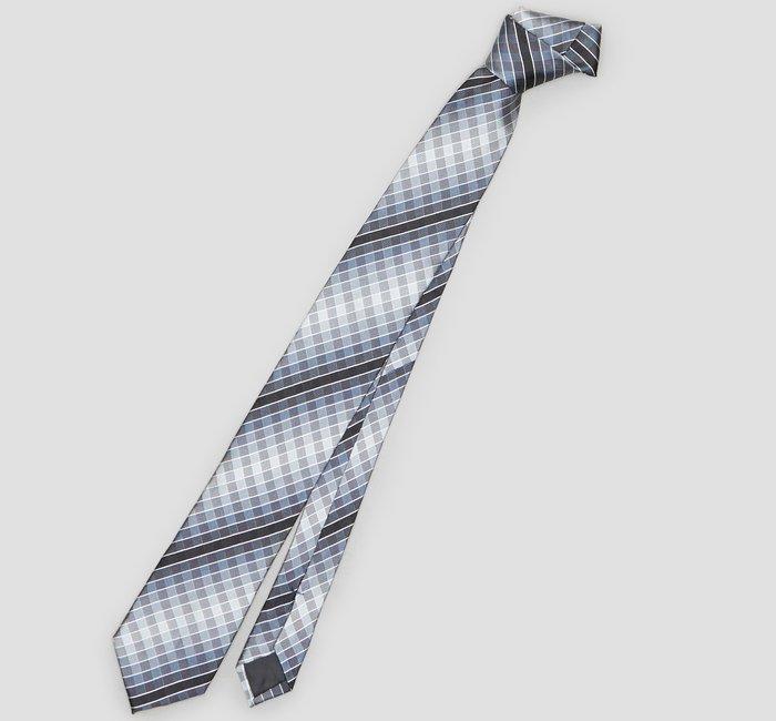 全新美國名牌 Kenneth Cole 黑色灰色條紋格紋高質感純絲領帶,低價起標無底價!本商品免運費!