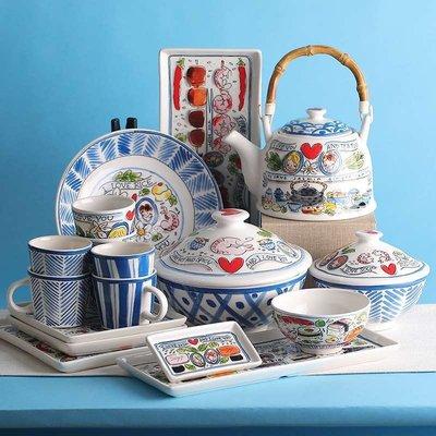 BLOND陶瓷水杯茶壺碗碟家用餐具荷蘭出口卡通亞洲系列套泡面碗盤 紅蘋果