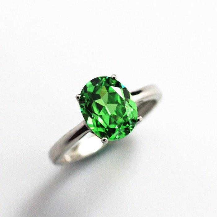 Lissom韓國代購~簡約沙弗萊石戒指女款銀飾彩色寶石鑲嵌純銀橢圓沙佛萊活圈可調節