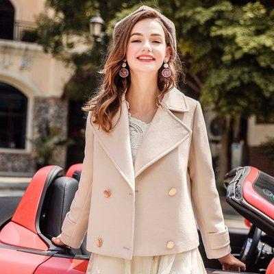 ✻美人魚的秘密✻MS風靡歐洲館-7166 氣質甜美翻領V領 雙排釦毛呢料質外套  長短版大衣LADY