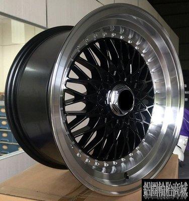 【CS-479】全新鋁圈 類BBS RS 15吋 4孔100~4孔114.3~ET25~8J 深唇大凹 海拉風 亮黑拋邊