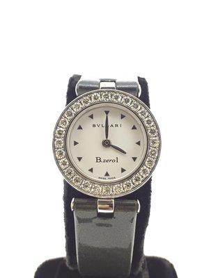 【益成當舖】(已售)流當品 原鑲鑽圈寶格麗BVLGARI皮帶女錶 原廠盒子保單證書