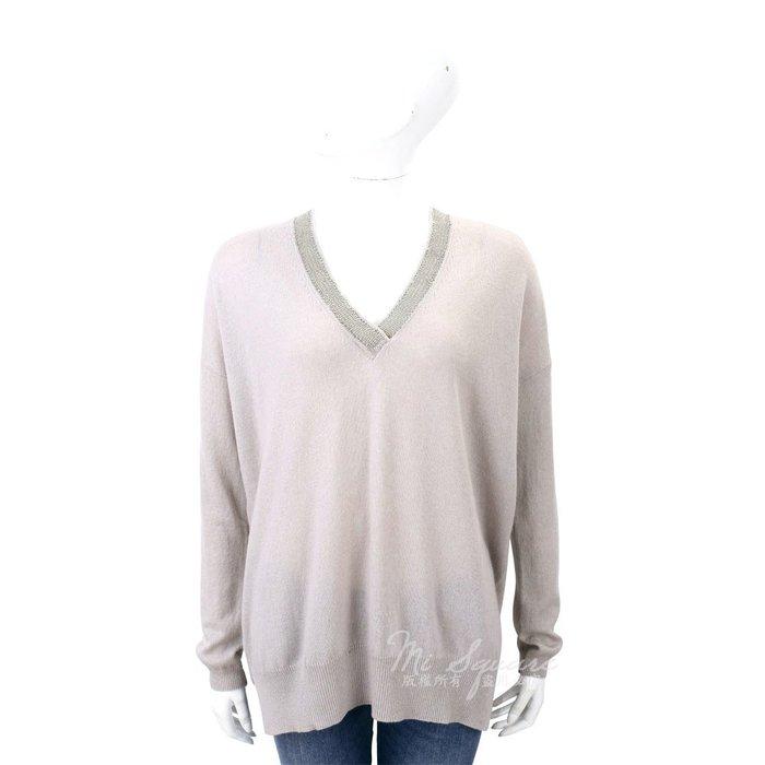 米蘭廣場 ALLUDE 灰色滾邊設計V領羊毛針織上衣(70%WOOL) 1710083-D7