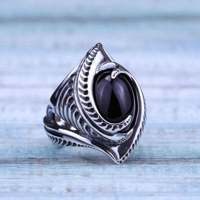 【Silver Monsters】日本匠級曲線異形Ability Normal 黑瑪瑙鑲嵌戒指