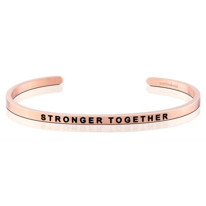 MANTRABAND 美國悄悄話手環 玫瑰金 Stronger Together 在一起會更強大