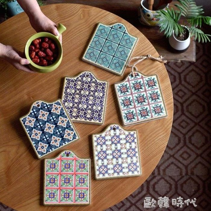摩洛哥風情舊日時光的記憶陶瓷餐墊鍋墊盤子隔熱墊復古花磚餐具墊 一件免運