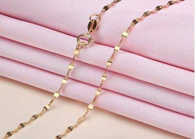 18k金項鍊 大瓦片鍊 細緻易搭任何吊墜 附贈珠寶檢測證書