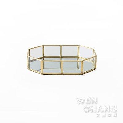 鍍金黃銅崁玻璃多邊行收納盒 Z177-B *文昌家具*
