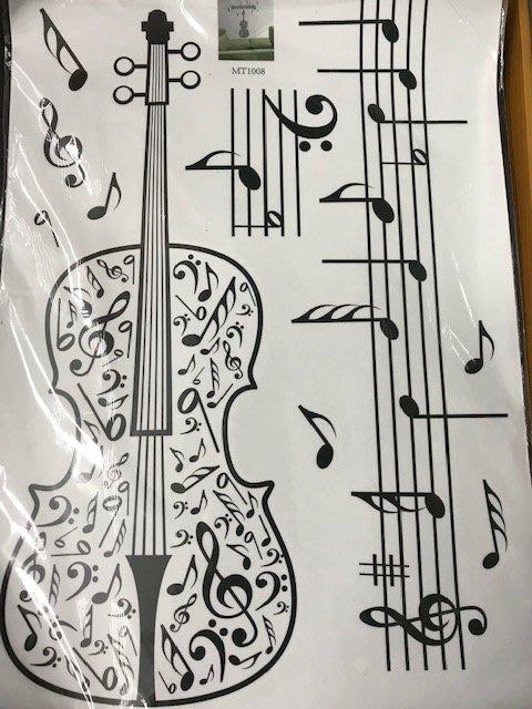 筌曜樂器 全新 小提琴 提琴 貼紙 美化牆面兒童房 幼兒園 音樂教室背景布置 裝飾 貼紙 墻貼紙