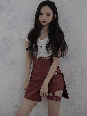 寶島小甜甜現貨 日系小眾melt夏季新品 個性朋克高腰顯瘦皮褲短褲裙褲C20