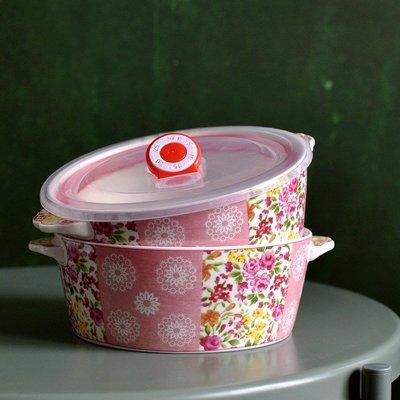 聚吉小屋 #熱賣#法式田園風格雙耳保鮮碗陶瓷平底冰箱存儲碗復古氣質粉嫩少女心(價格不同 請諮詢後再下標)